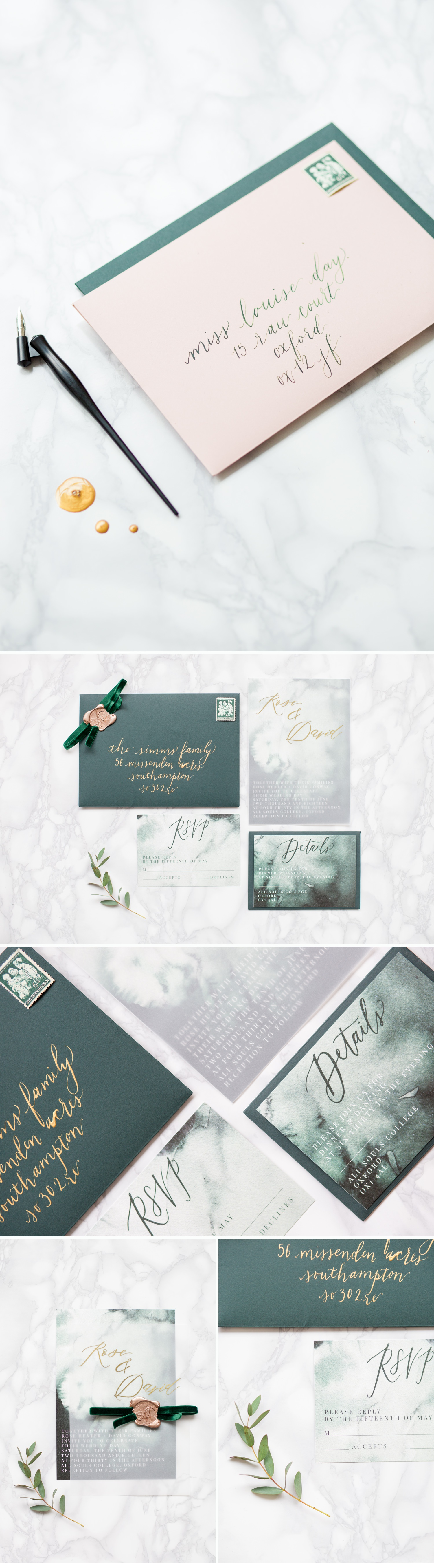 Personal Branding photoshoot - dark green wedding stationery suite