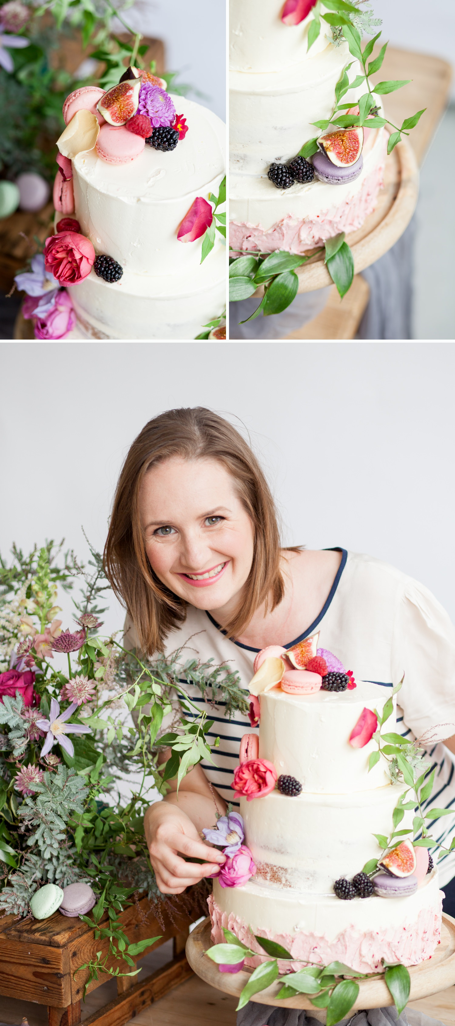 Personal branding shoot for Milk Street Kitchen - decorating a 3 tier cake