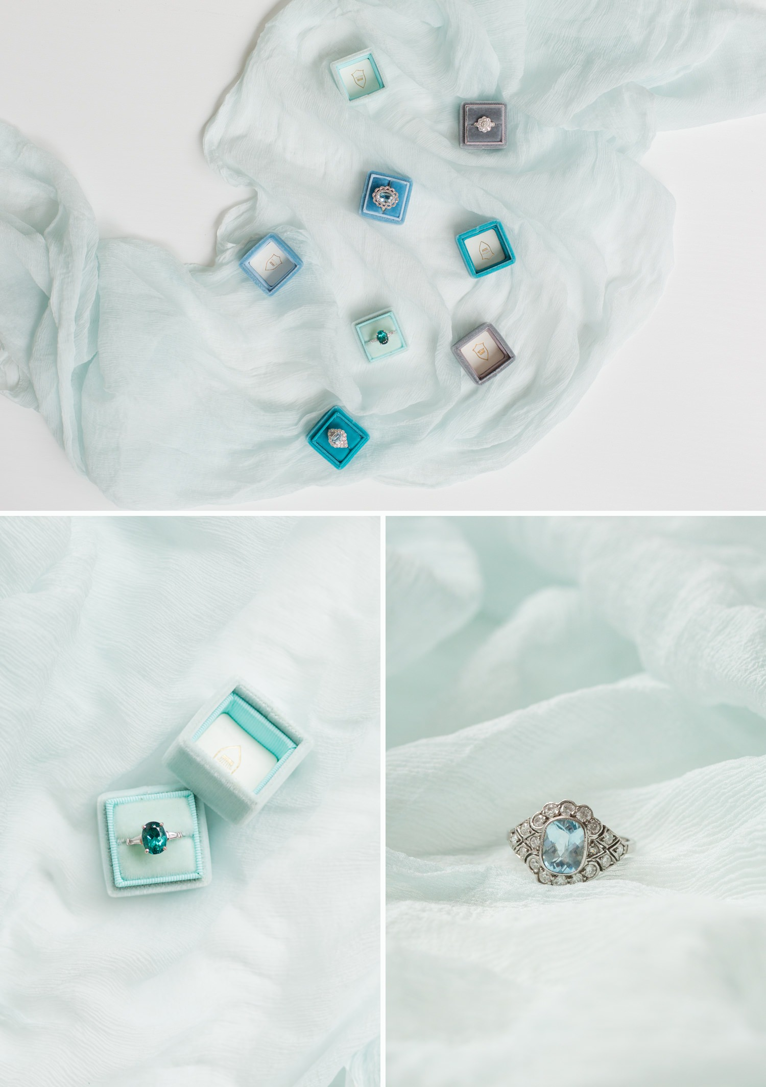 timeless engagement rings, antique rings on silk fabric