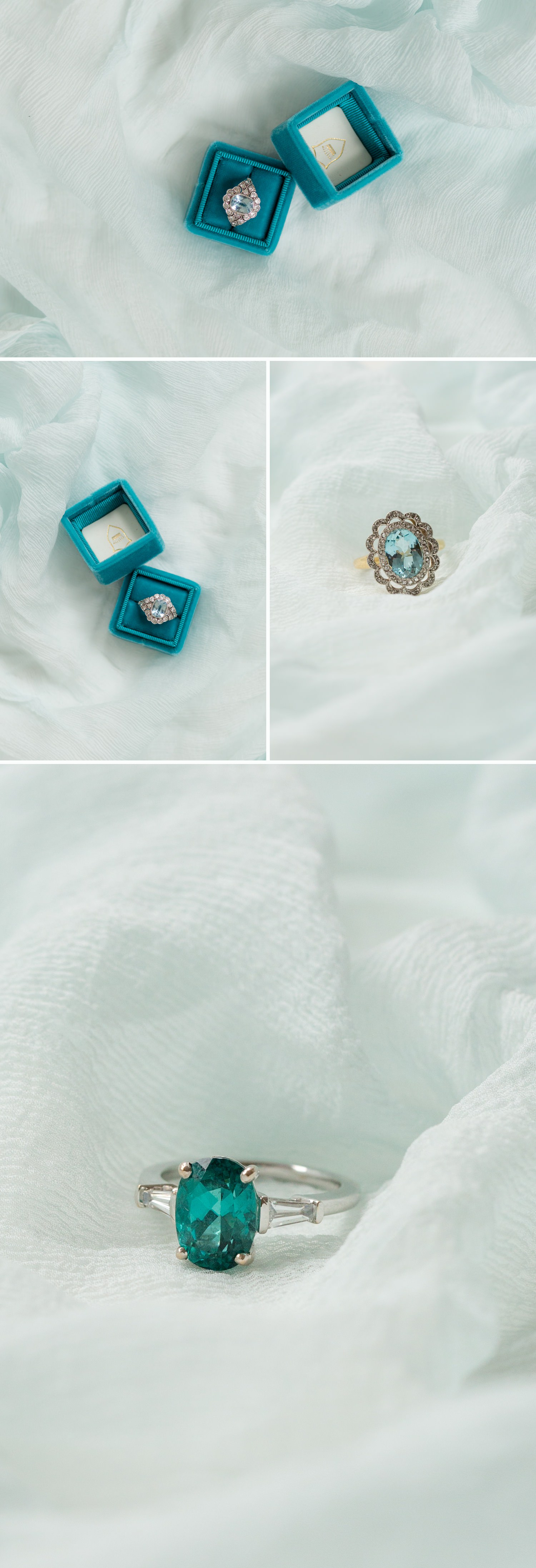 timeless engagement rings, deep blue and green stoned engagement rings