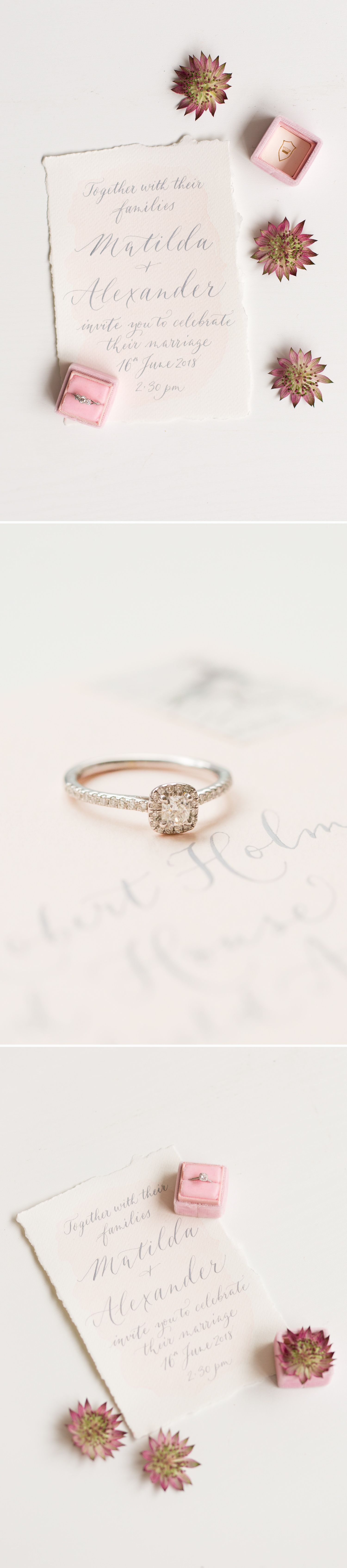 timeless engagement rings, diamond rings on calligraphy stationery
