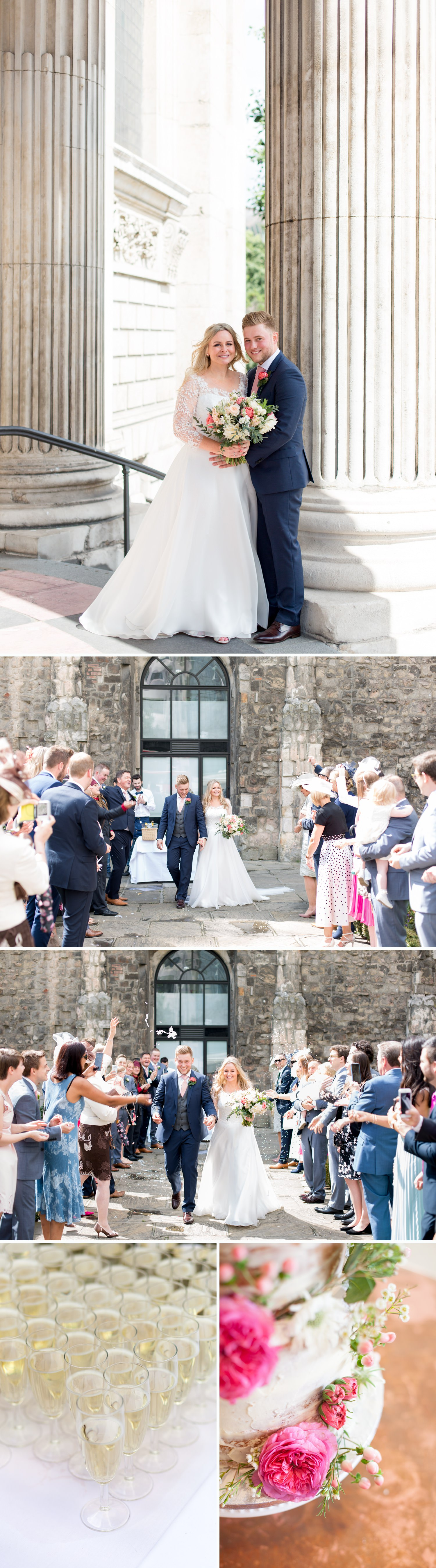 Charlotte & Adam's St. Paul's Cathedral wedding - guests throw confetti over a bride and groom