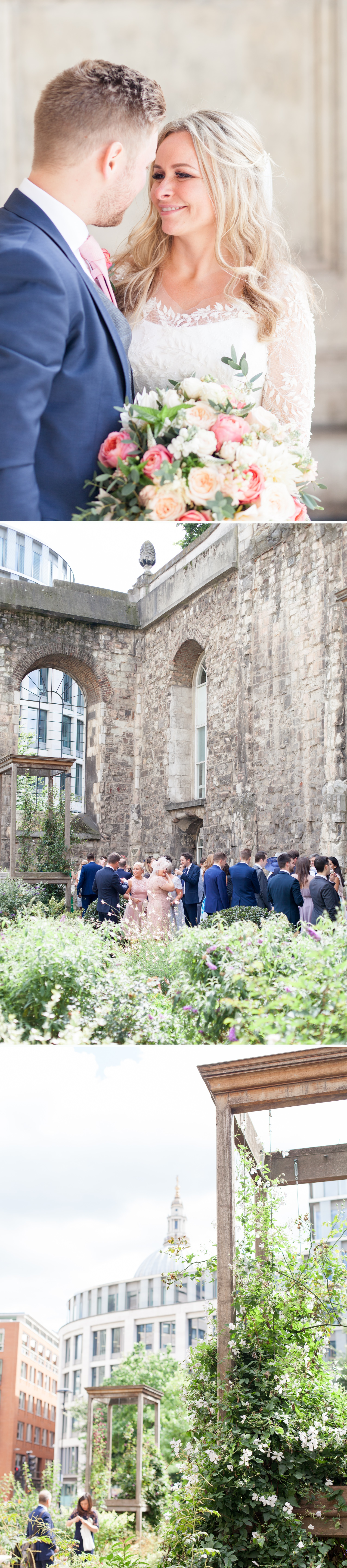 Charlotte & Adam's St. Paul's Cathedral wedding - a wedding reception at Christchurch Greyfriars