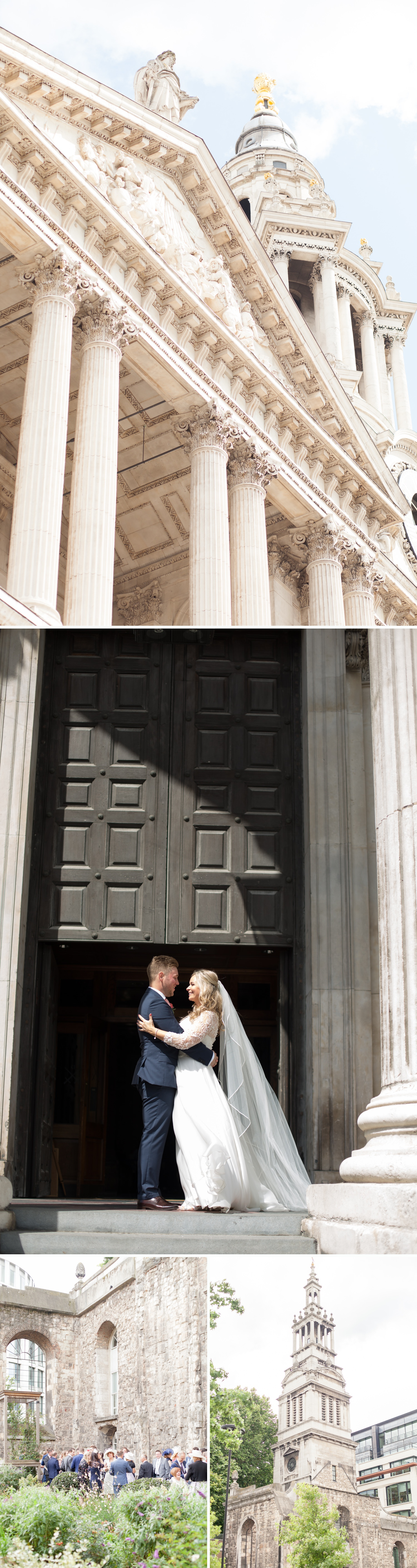 Charlotte & Adam's St. Paul's Cathedral wedding - a bride & groom by the steps of St. Paul's