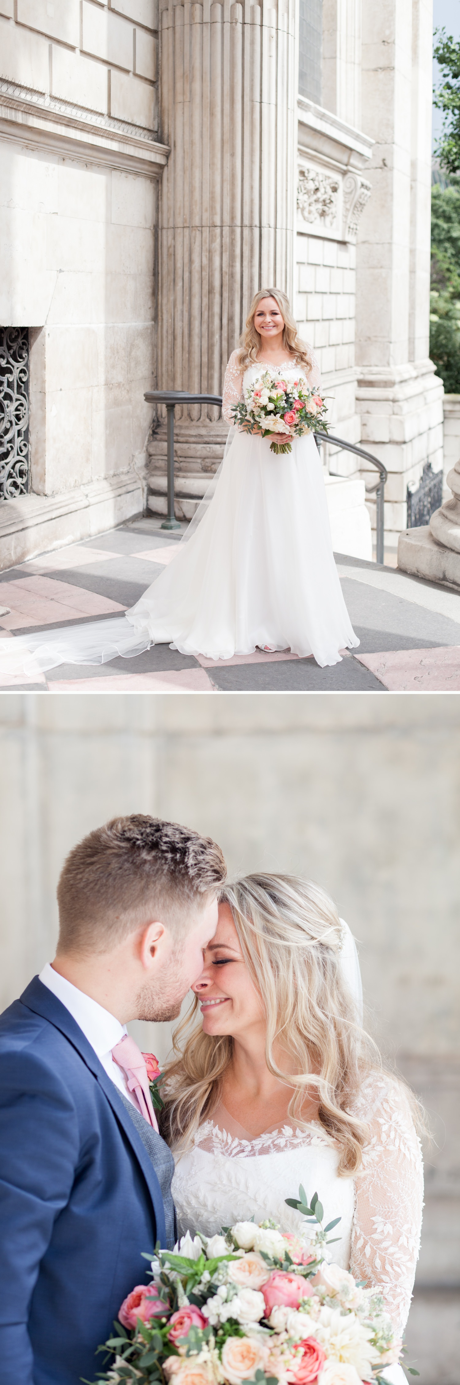 Charlotte & Adam's St. Paul's Cathedral wedding - a bride in a Suzanne Neville gown