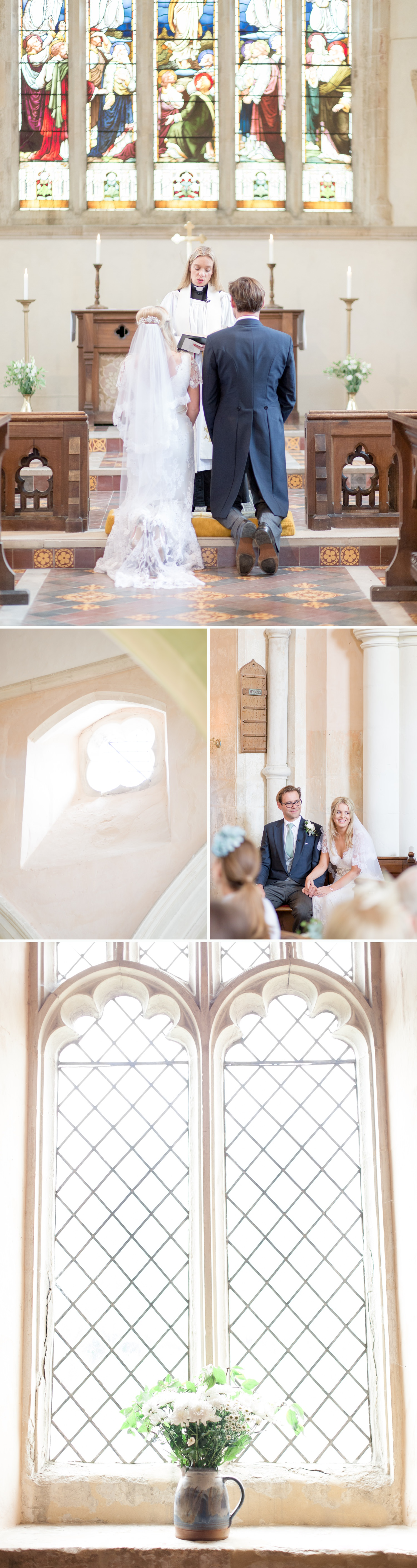 Emily & Jonathan's Cambridgeshire wedding - couple being blessed in a marriage ceremony