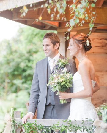 romantic wedding photography- a bride and groom at the summer house at South Farm