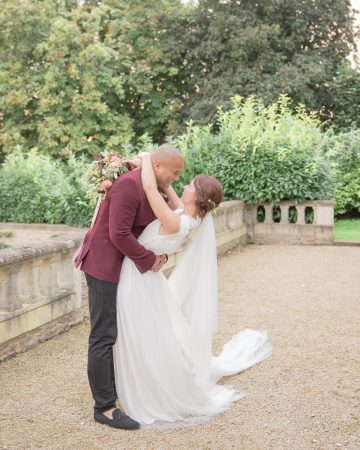 romantic wedding photography- a romantic kiss at Valentina's Orangery