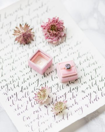 romantic wedding photography- a ring on a calligraphy letter