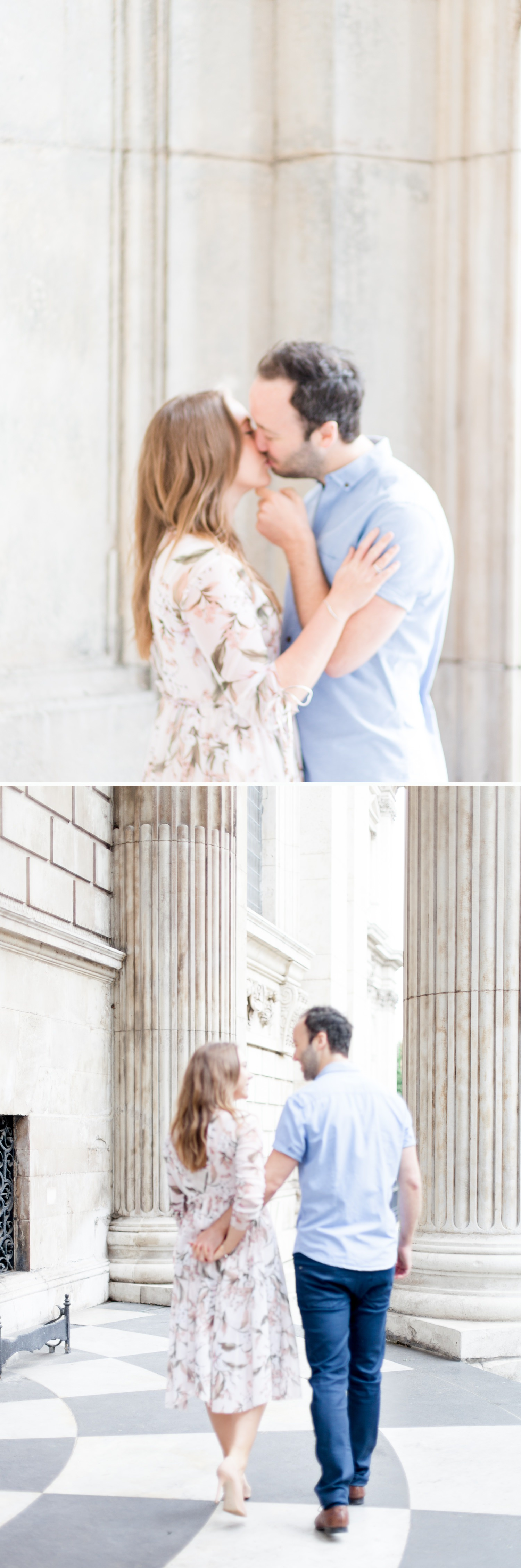 pre wedding shoot london 1 - a couple walk and kiss at St. Paul's Cathedral