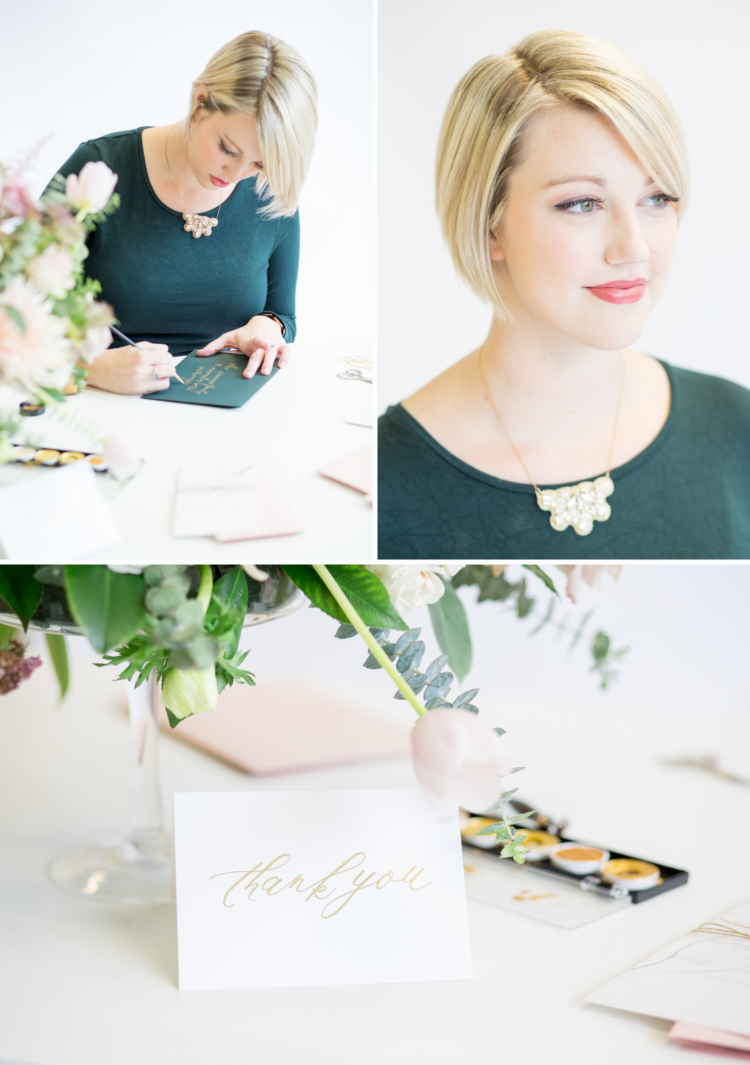 Personal Branding, a calligrapher working at her desk