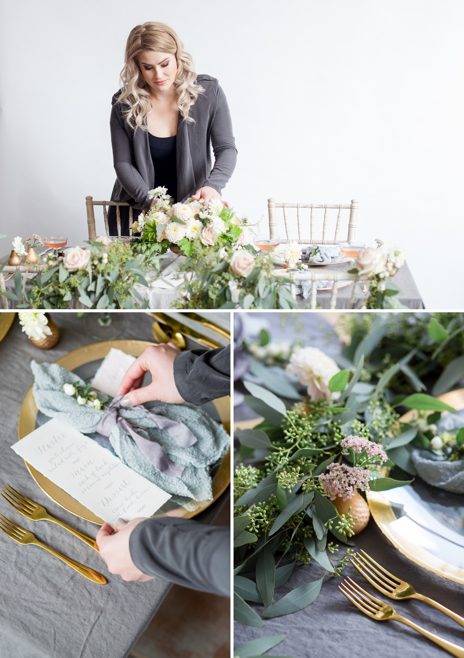 personal branding photoshoot for Stone & Co. making final changes to a tablescape