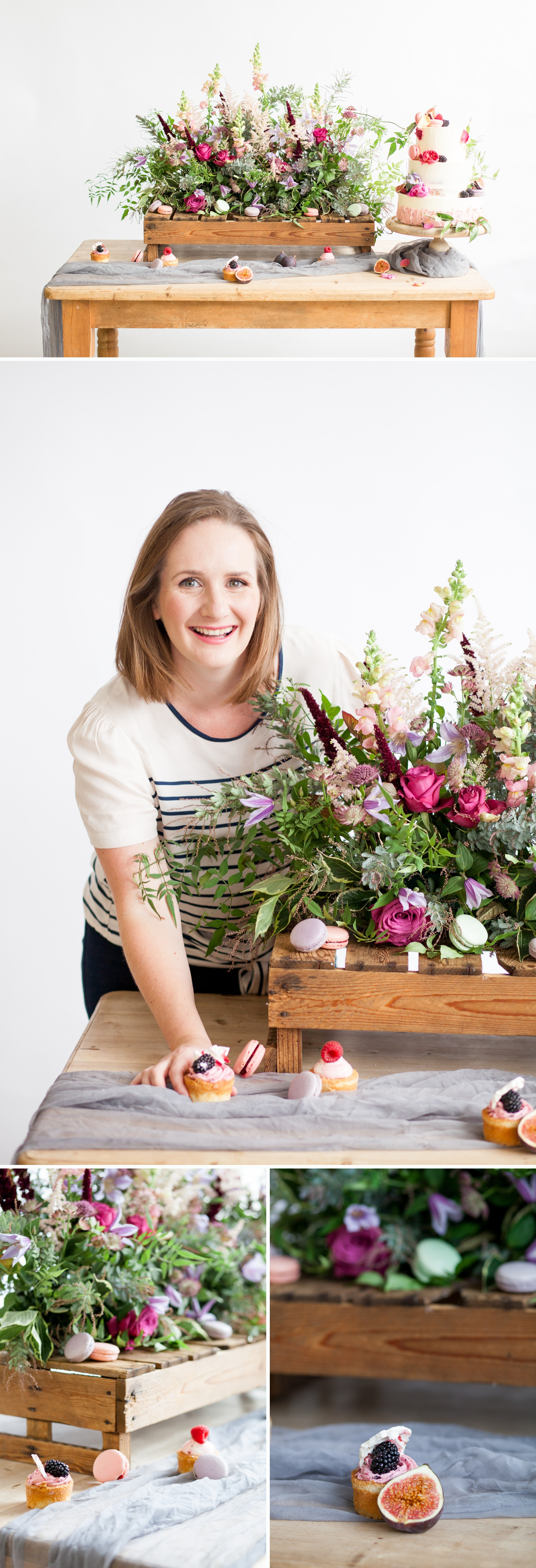 personal branding shoot for Milk Street Kitchen - will flowers and cakes