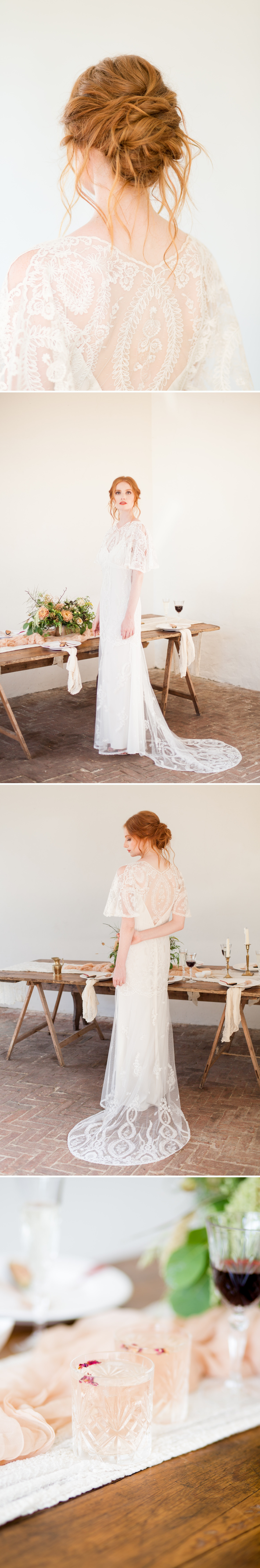 West Sussex Wedding Photographer - a red haired bride in a beautiful Claire Pettibone gown