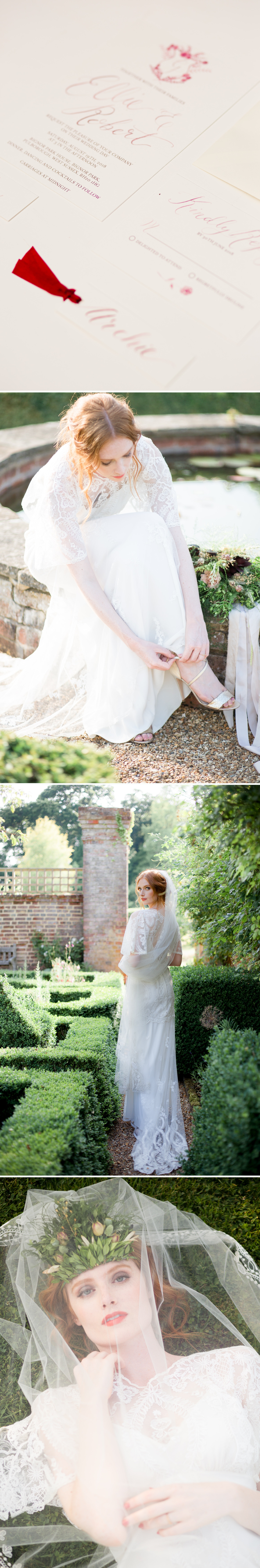 West Sussex Wedding Photographer - bridal portraits in the late evening light at Bignor Park