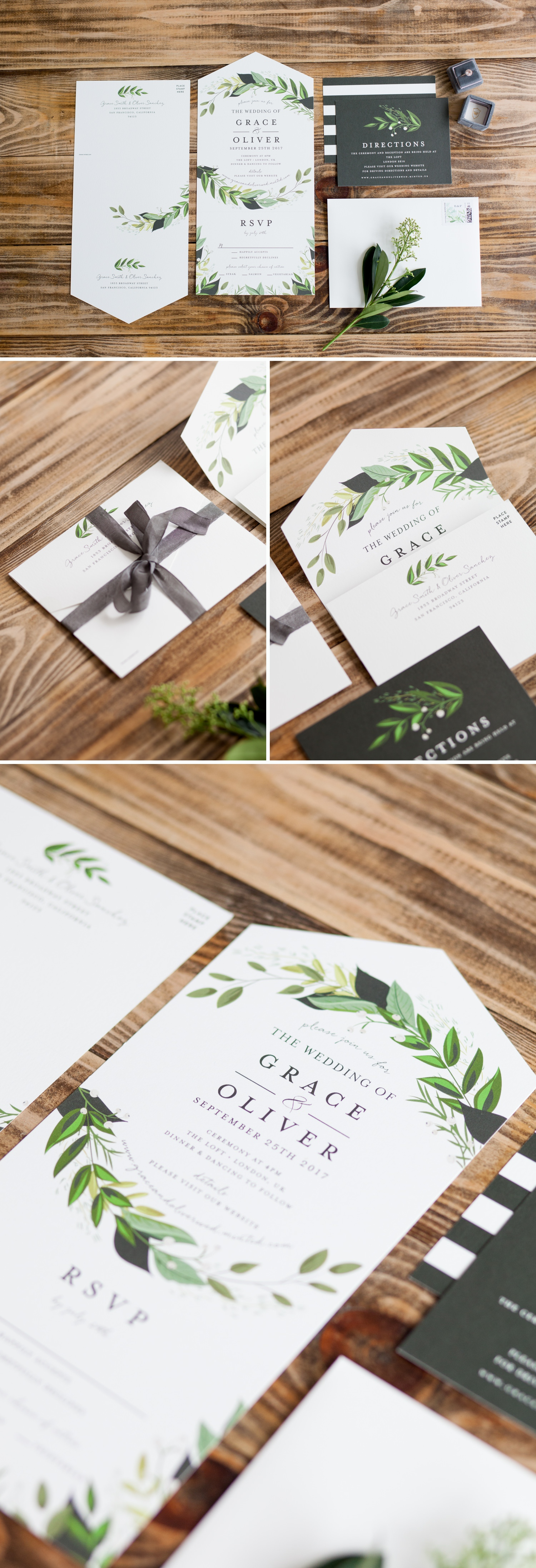 London Warehouse Wedding 10 - a black and green stationery suite