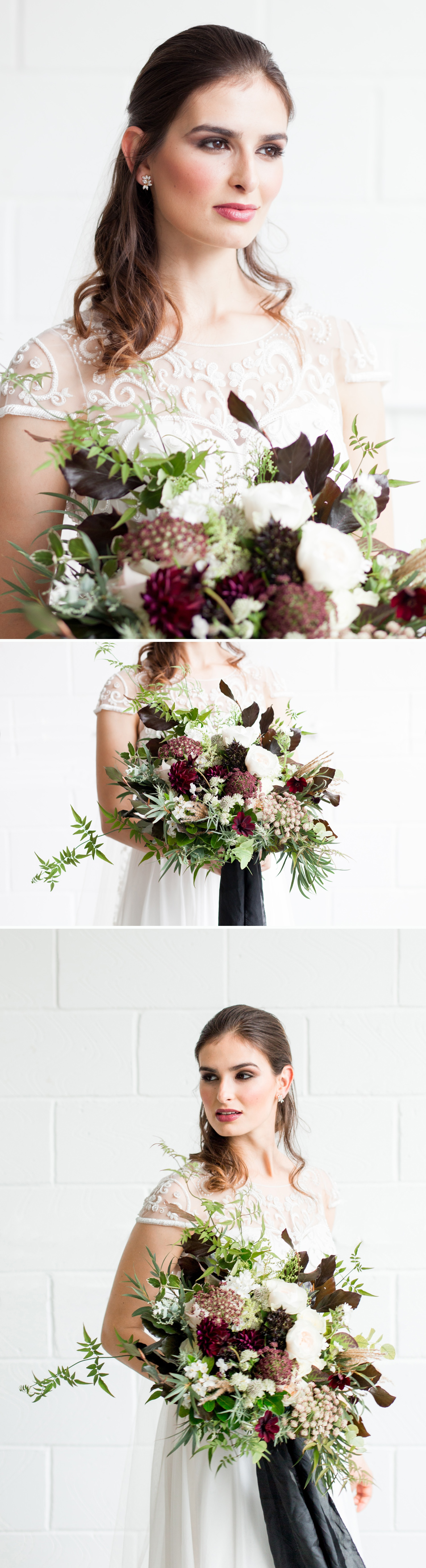 London Warehouse Wedding 4- a bride with sultry make up and a burgundy and green bouquet