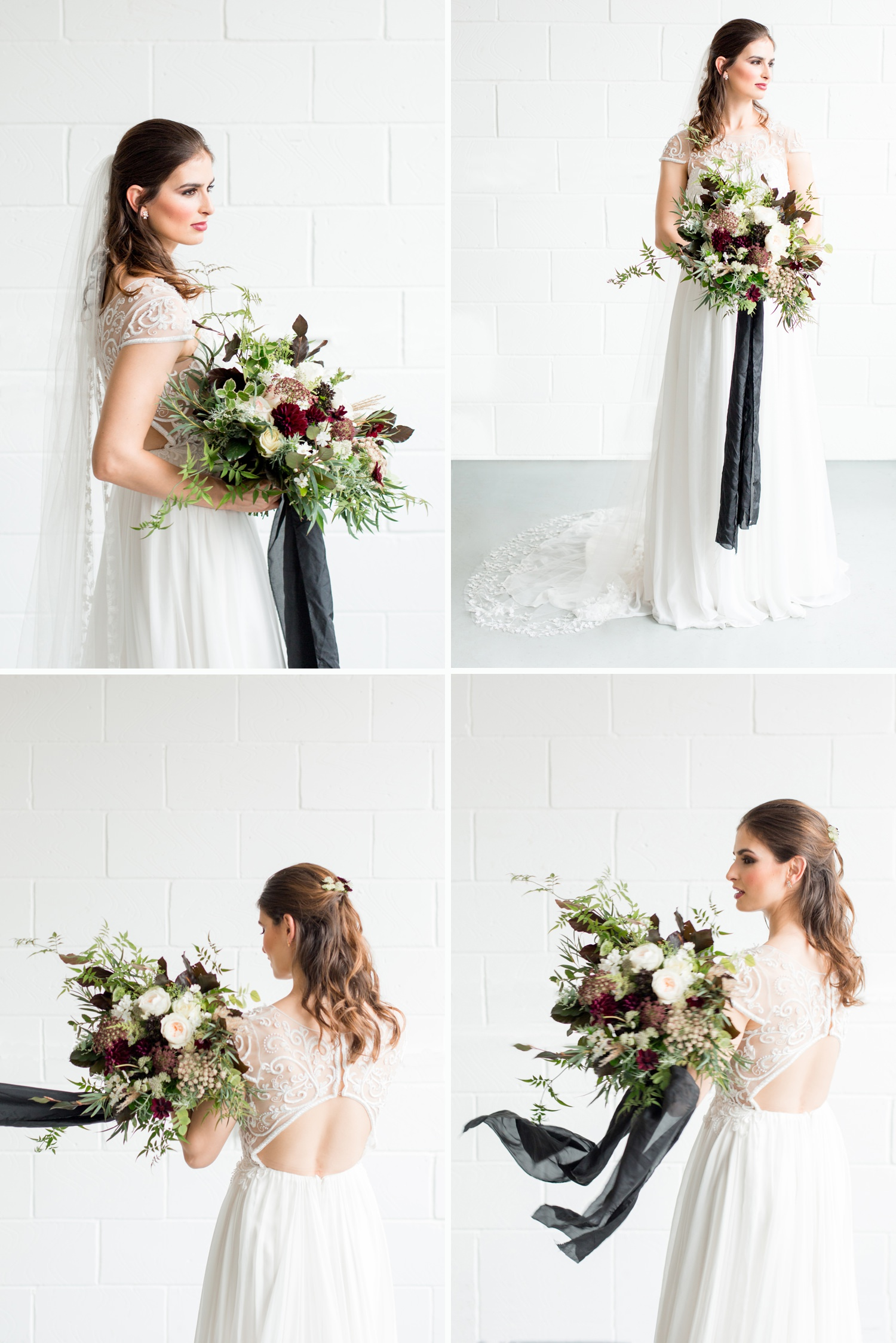 London Warehouse Wedding 6 - a bride with a sultry bouquet twirls