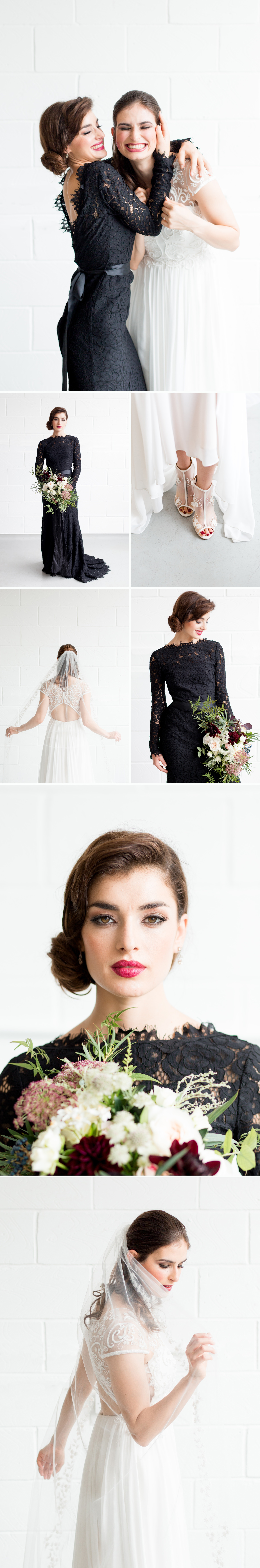 London Warehouse Wedding 7 - a bride in a beaded dress and veil with a bridesmaid in a black lace dress