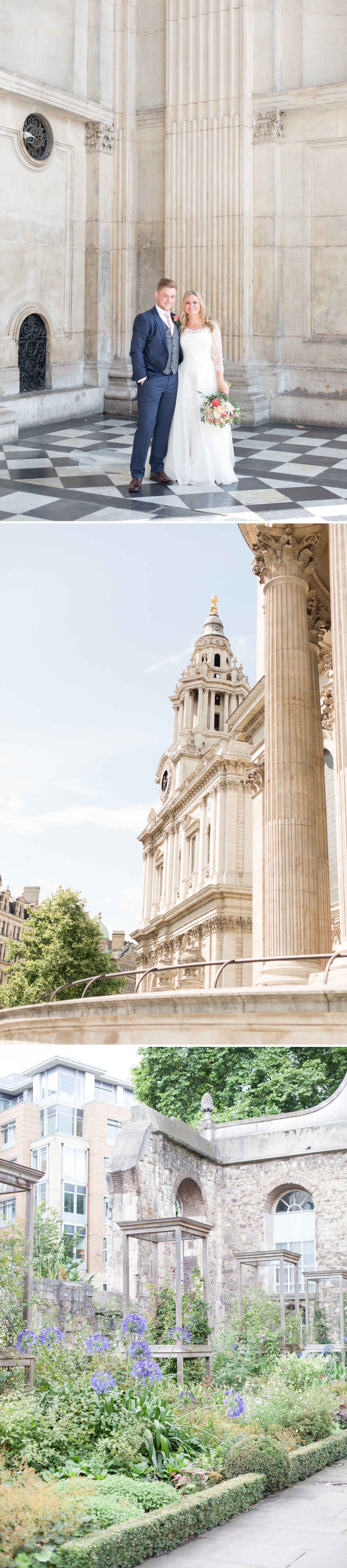 Charlotte & Adam's St. Paul's Cathedral wedding - a bride & groom on the steps of St. Paul's