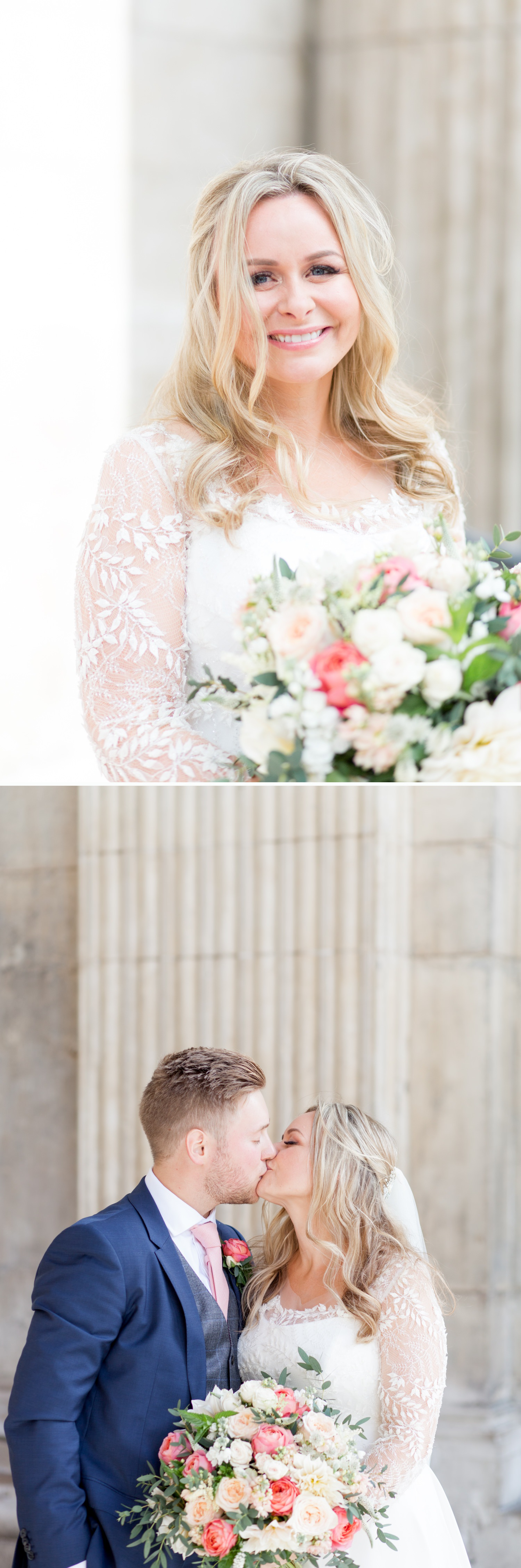 Charlotte & Adam's St. Paul's Cathedral wedding - a bride and groom kiss