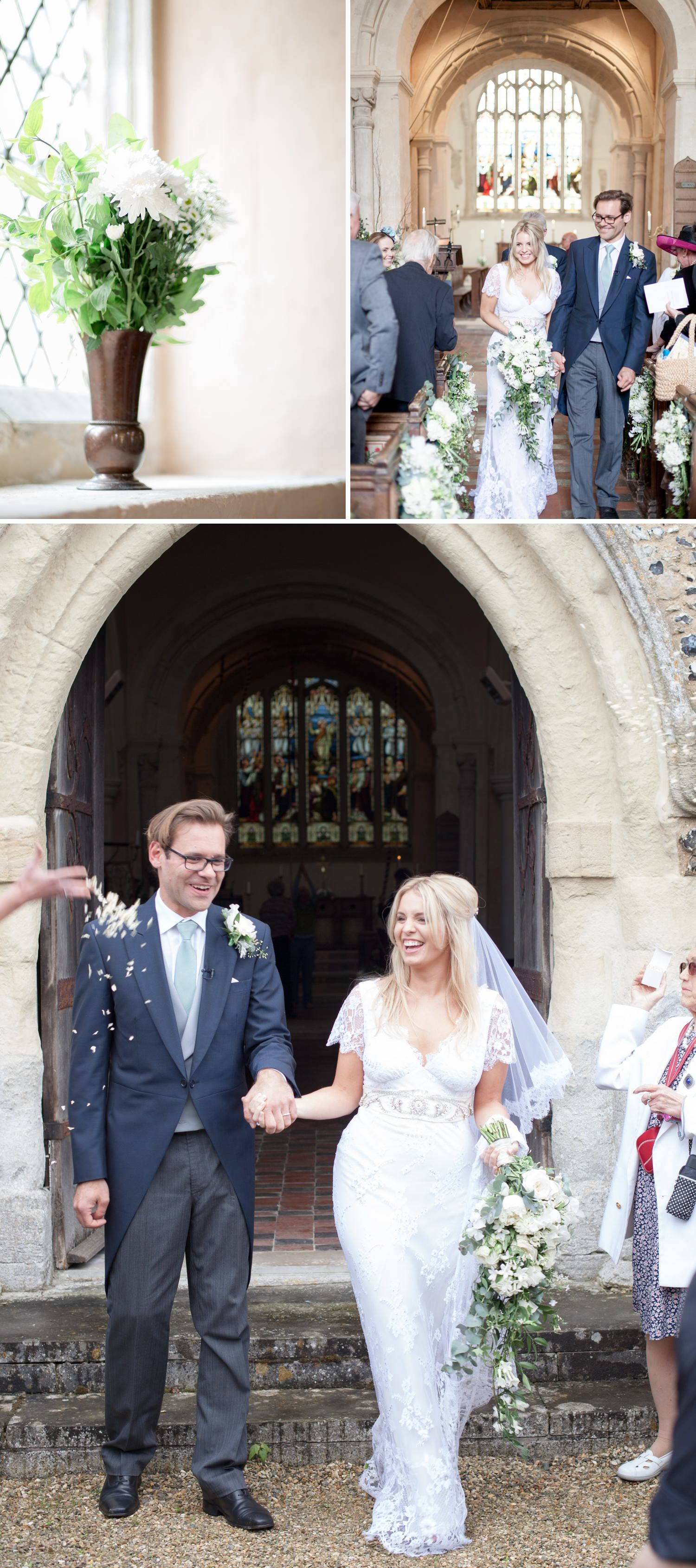 Emily & Jonathan's Cambridgeshire wedding - walking down the aisle after a marriage ceremony