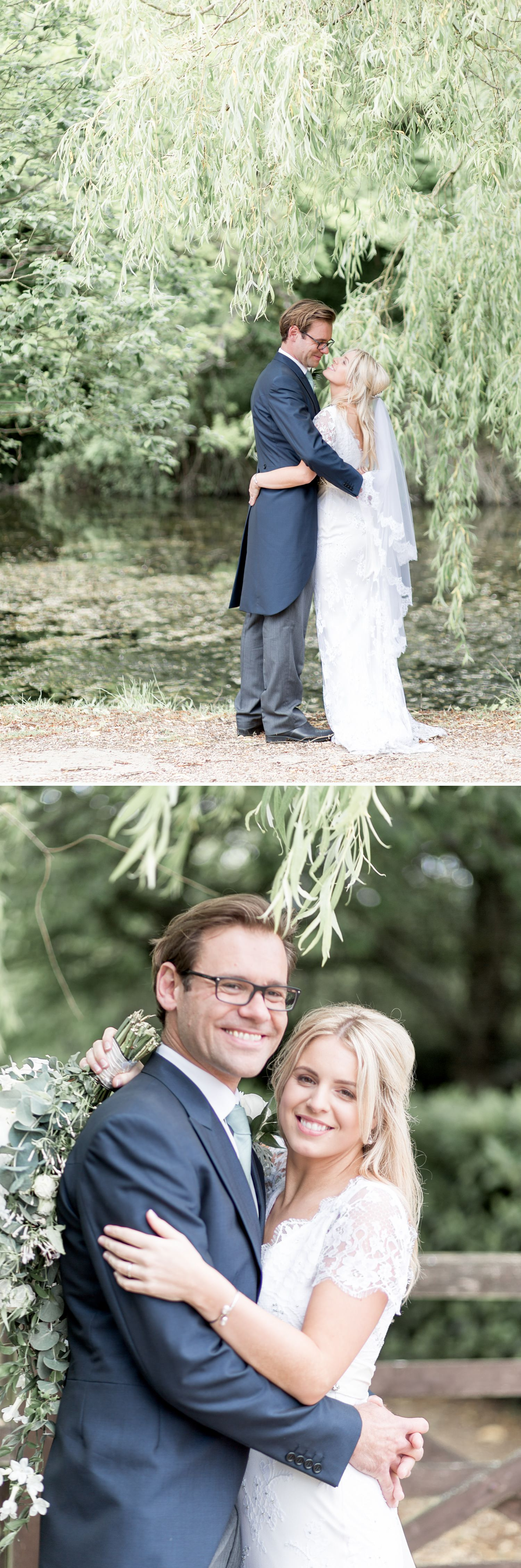 Emily & Jonathan's Cambridgeshire wedding - couple posing under weeping willow