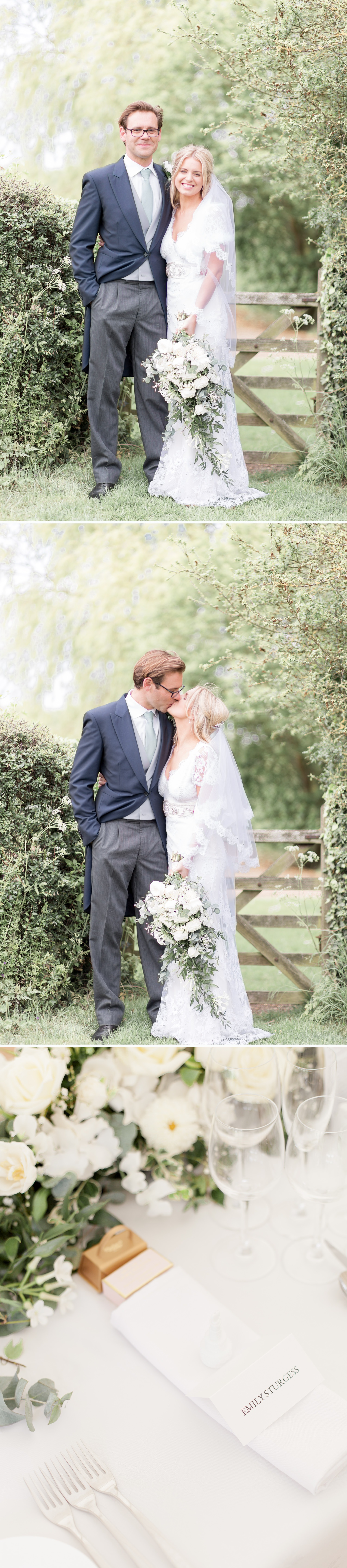 Emily & Jonathan's Cambridgeshire wedding - couple standing in a pretty field