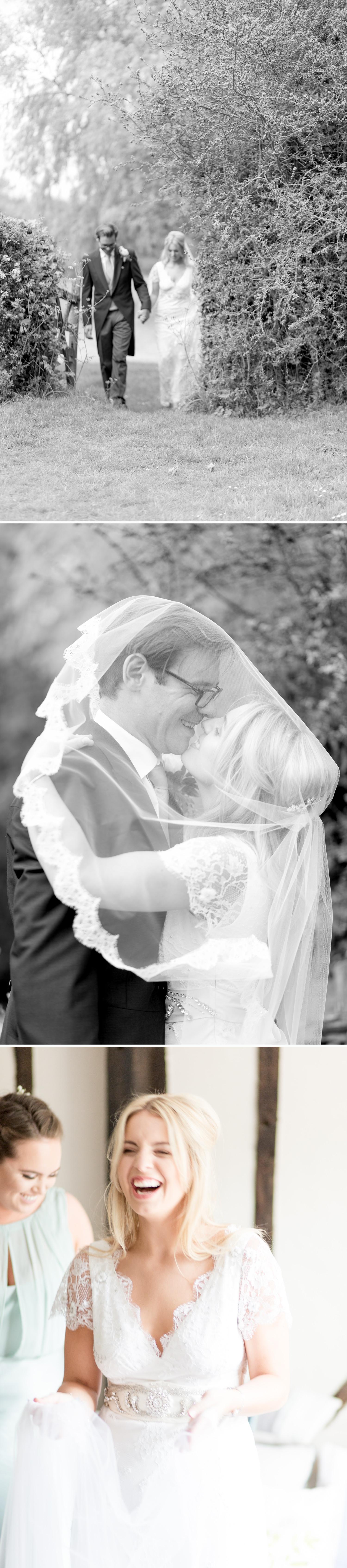 Emily & Jonathan's Cambridgeshire wedding - black and white images of couple walking