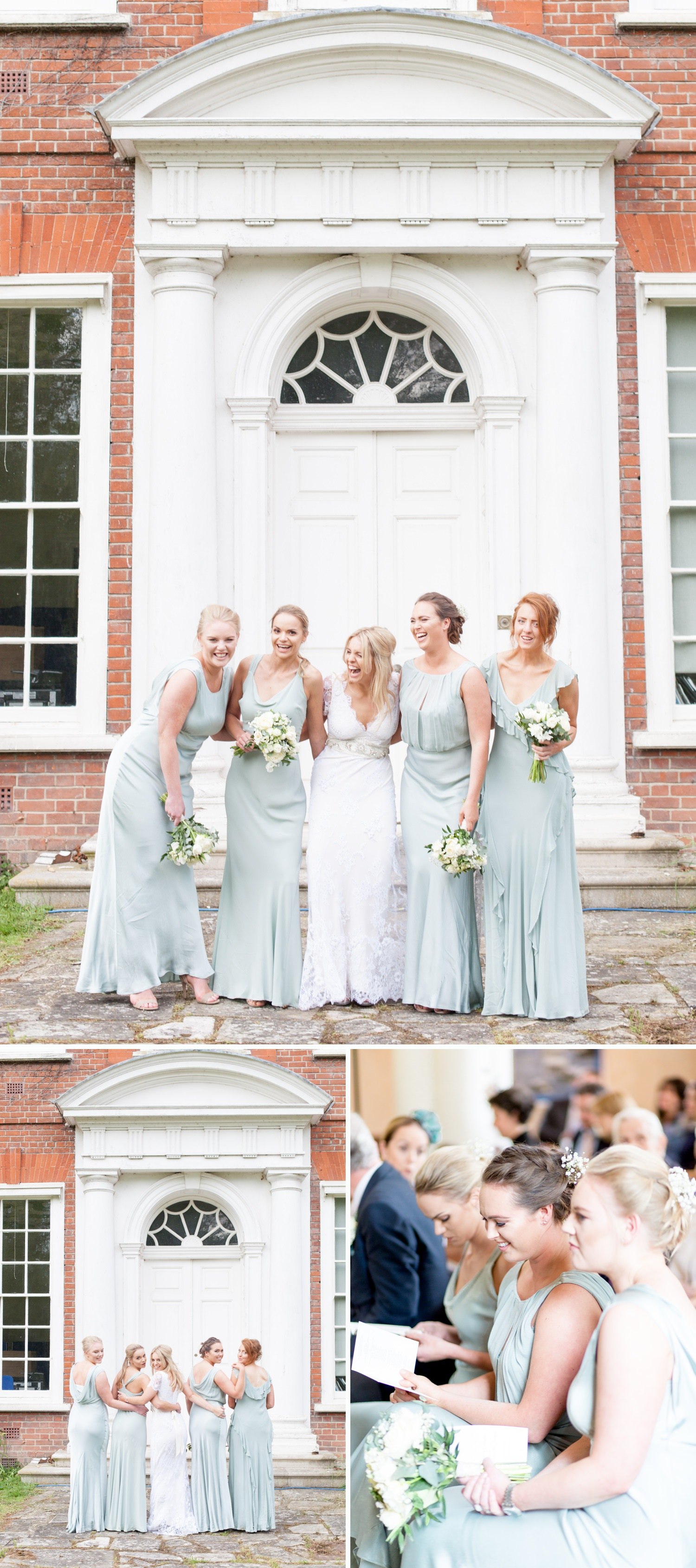 Emily & Jonathan's Cambridgeshire wedding - a bride with her bridesmaids