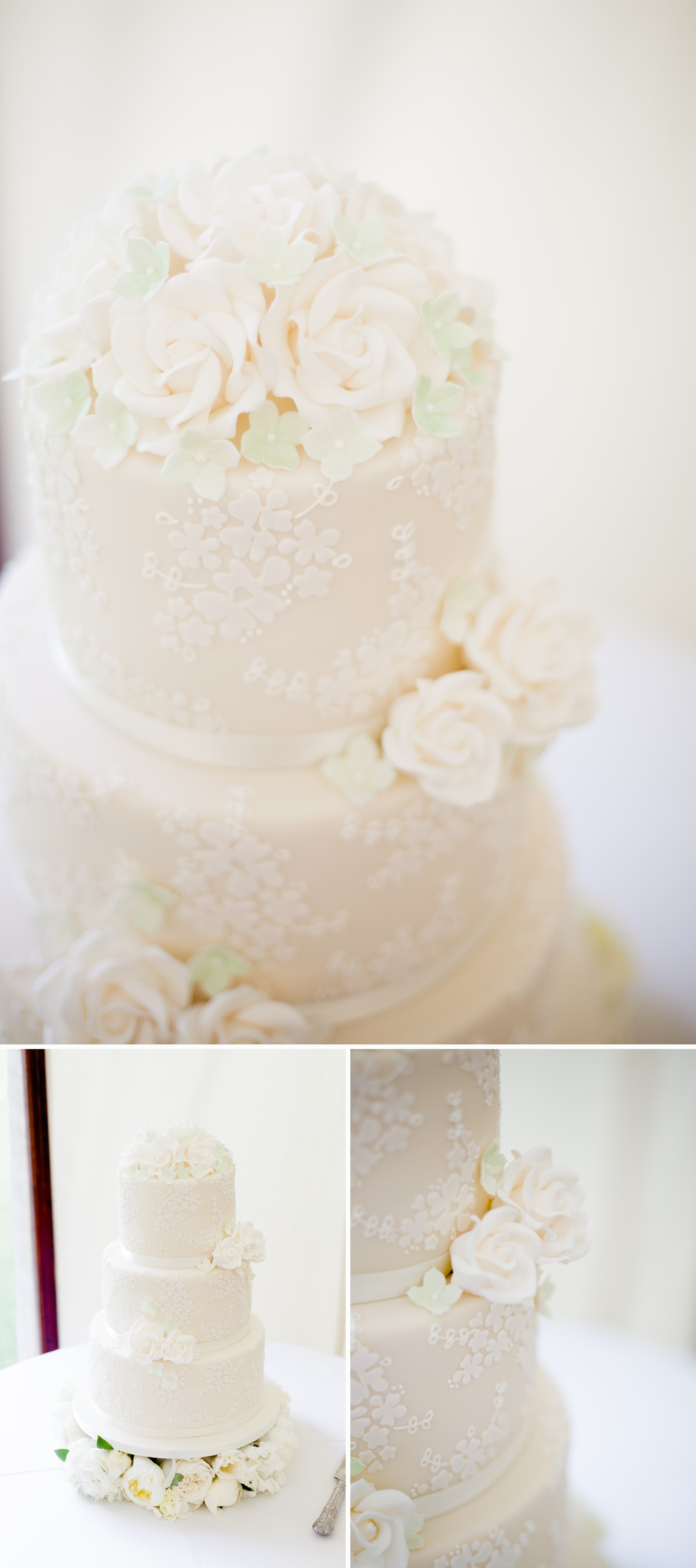 Emily & Jonathan's Cambridgeshire wedding - beautiful 3 tiered wedding cake