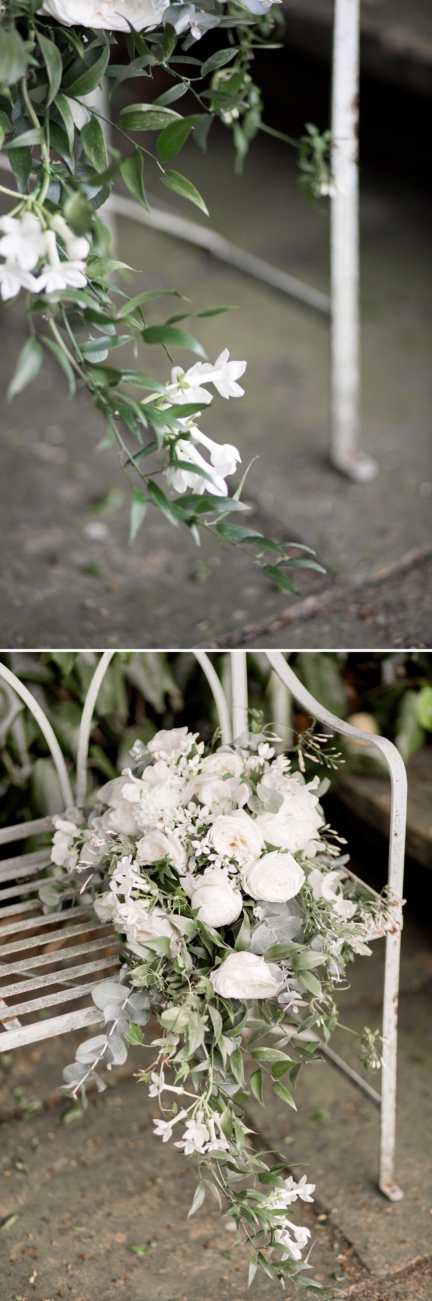 Emily & Jonathan's Cambridgeshire wedding - trailing bridal bouquet