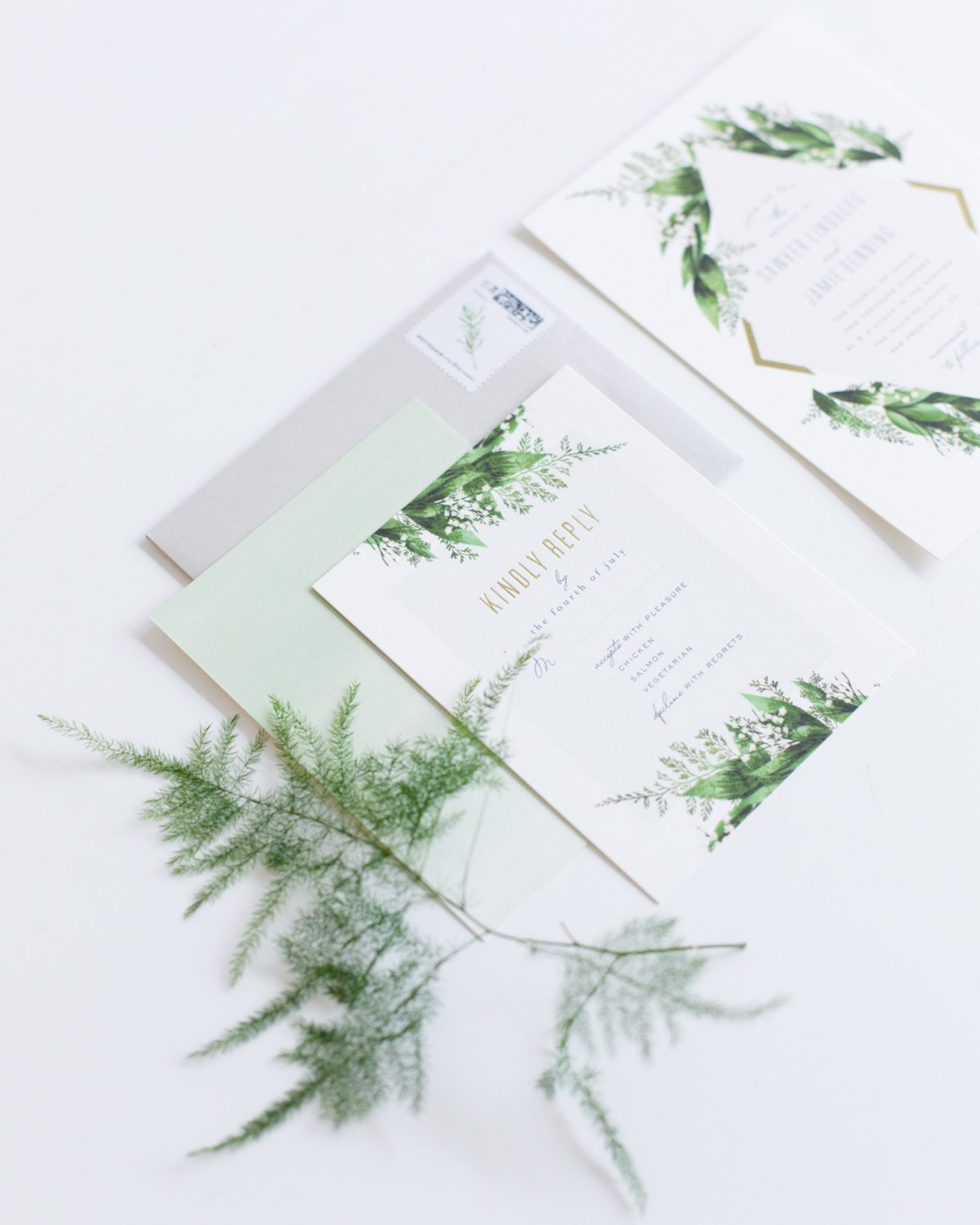 A Botanical Industrial Chic Wedding - an invitation suite