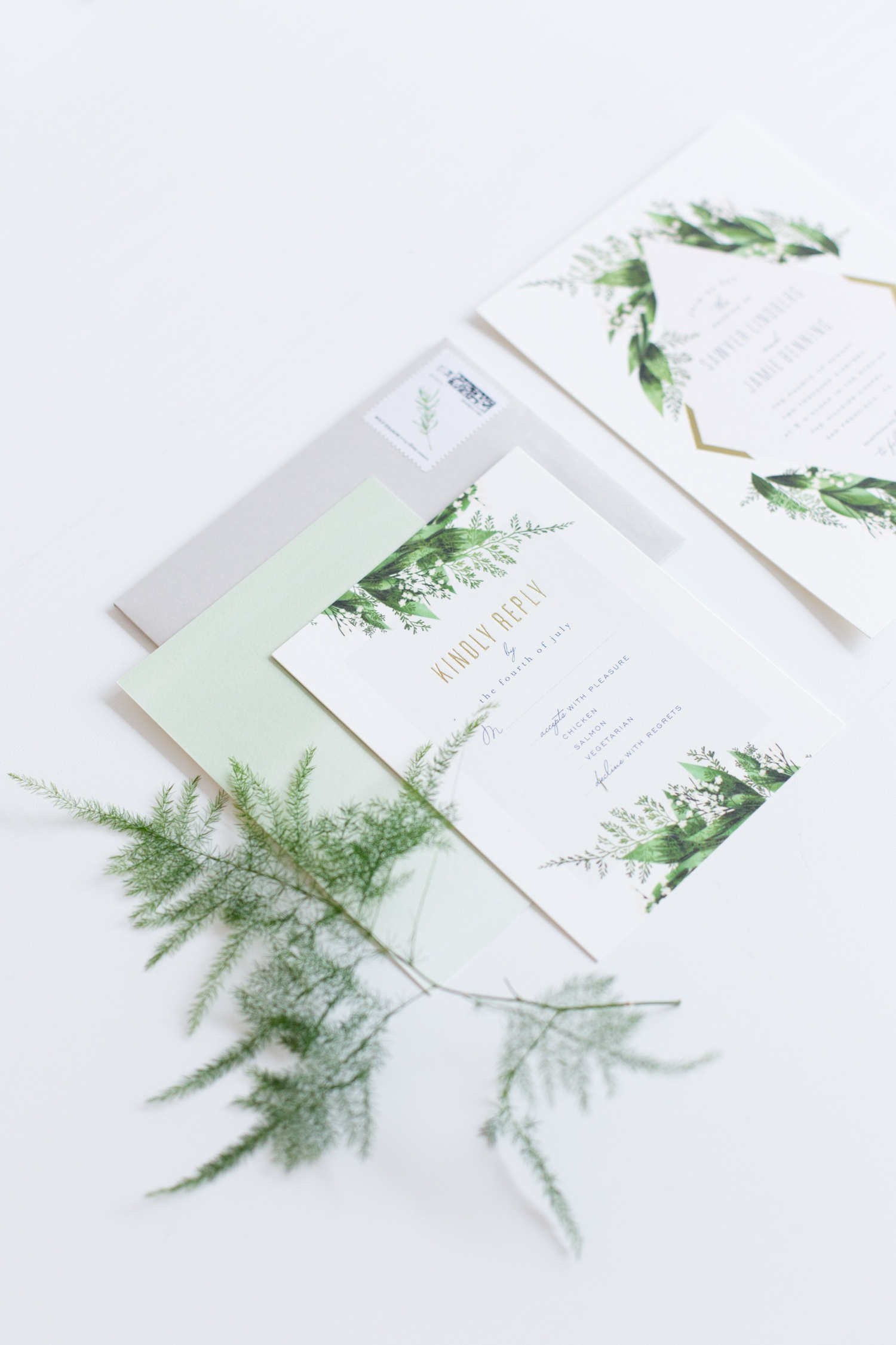 Industrial Chic Botanical Wedding - green and white wedding stationery