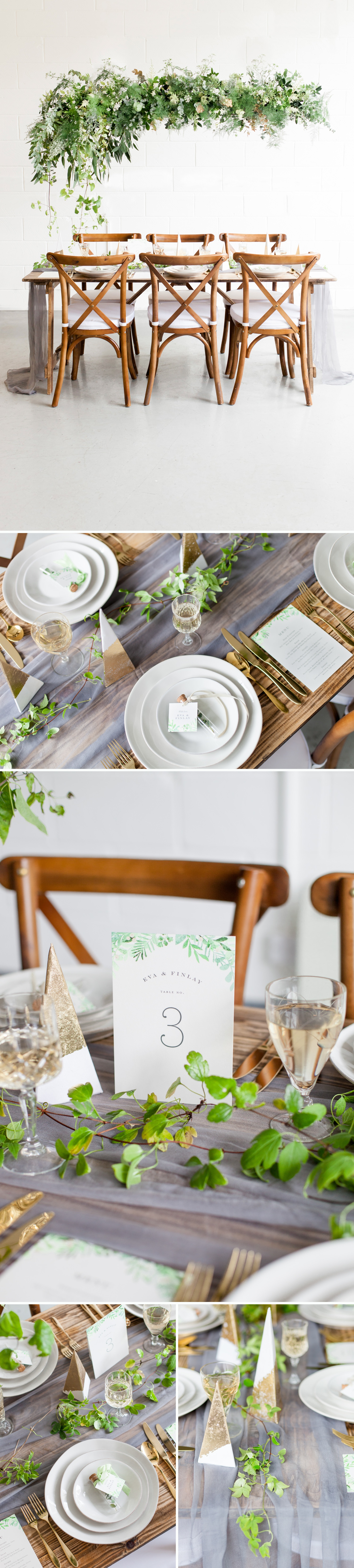Industrial Chic Botanical Wedding 10 - a tablescape inspired by botanical wedding stationery