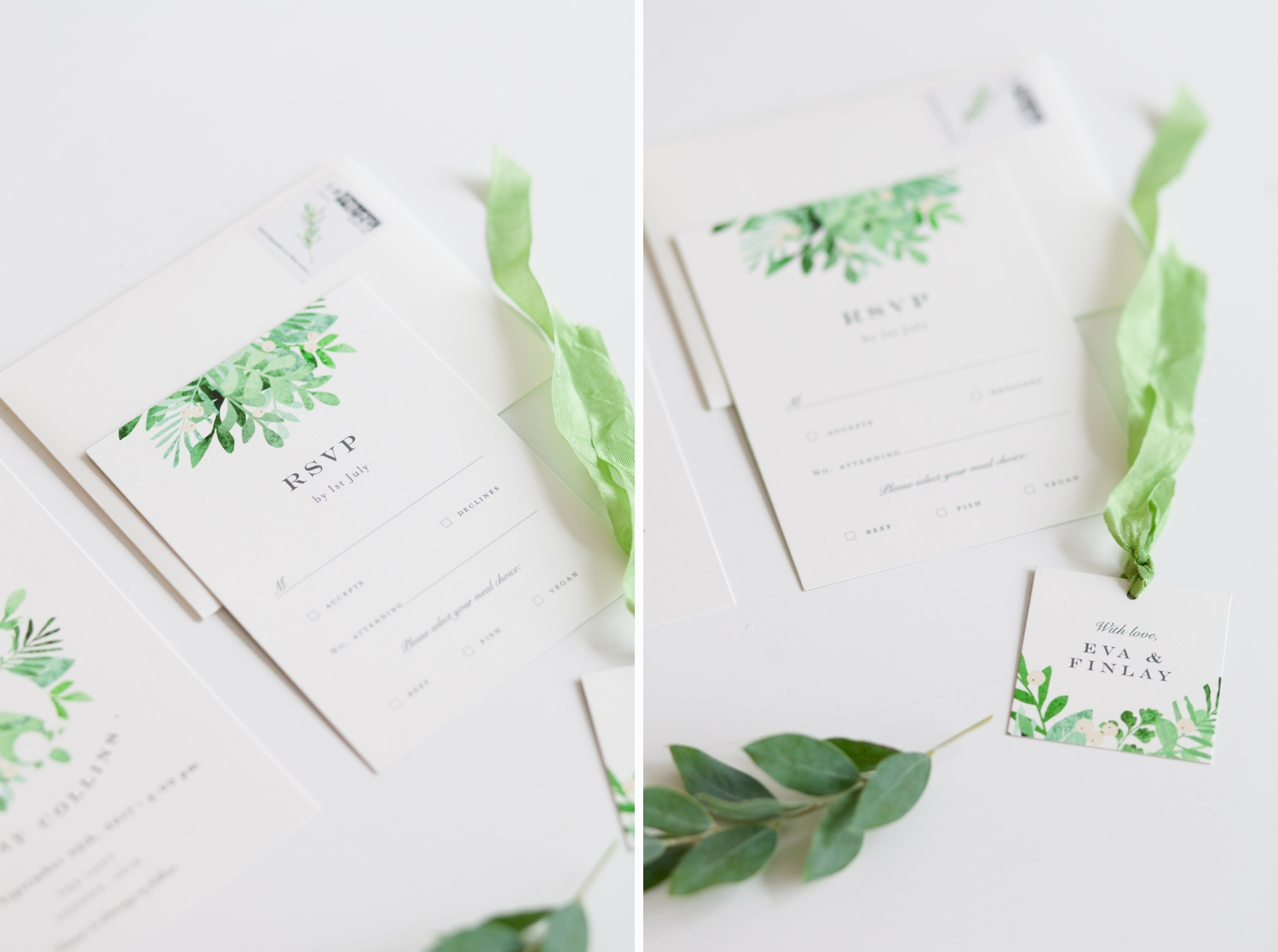 Industrial Chic Botanical Wedding 11 - green & white stationery from Minted