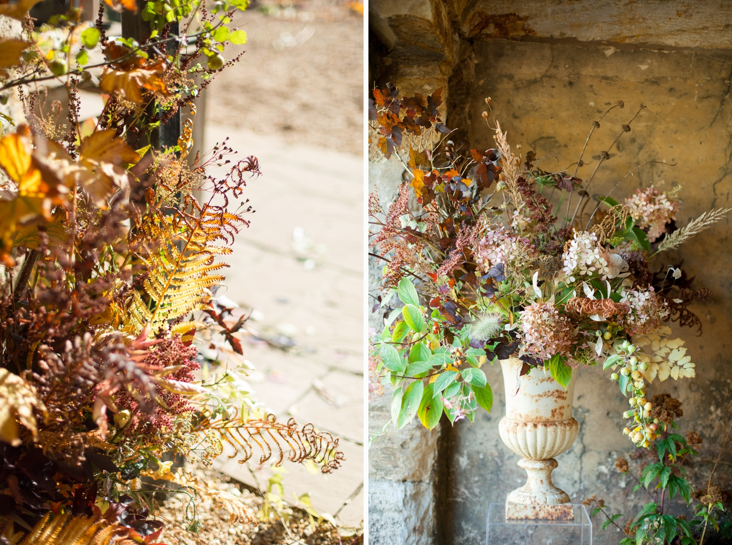 Wild and Romantic Wedding Flowers, Autumnal arrangements